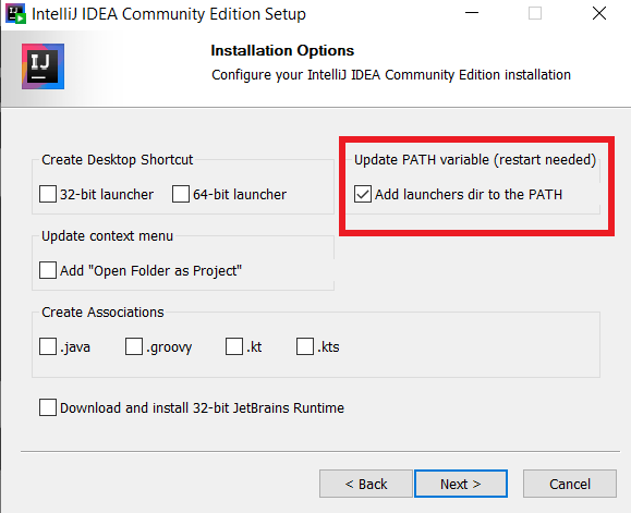 Screenshot for adding java to path